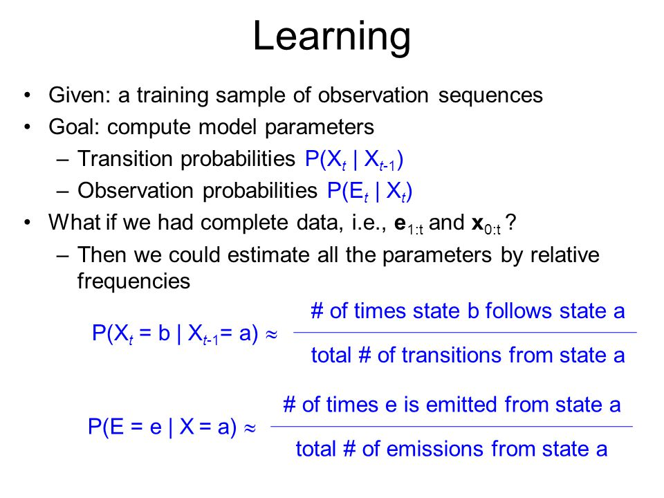 Learning Given: a training sample of observation sequences
