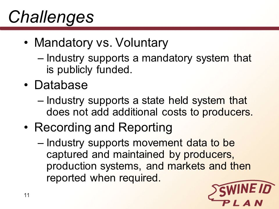 Challenges Mandatory vs. Voluntary Database Recording and Reporting