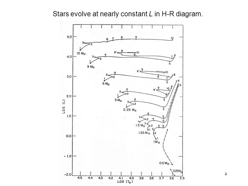 Stars evolve at nearly constant L in H-R diagram.
