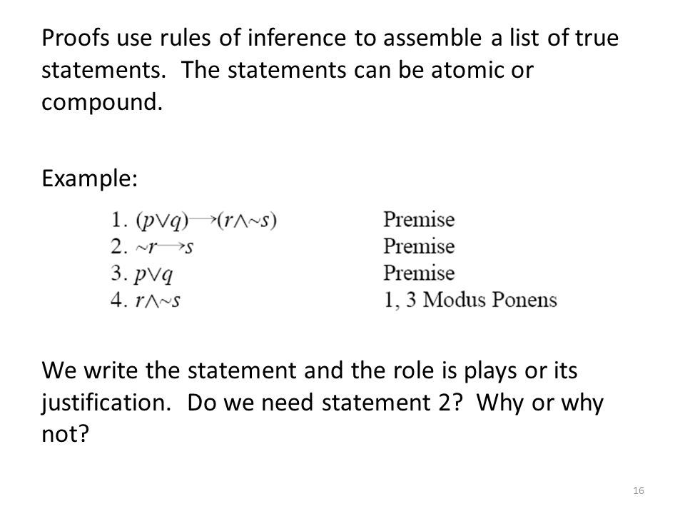 Proofs use rules of inference to assemble a list of true statements