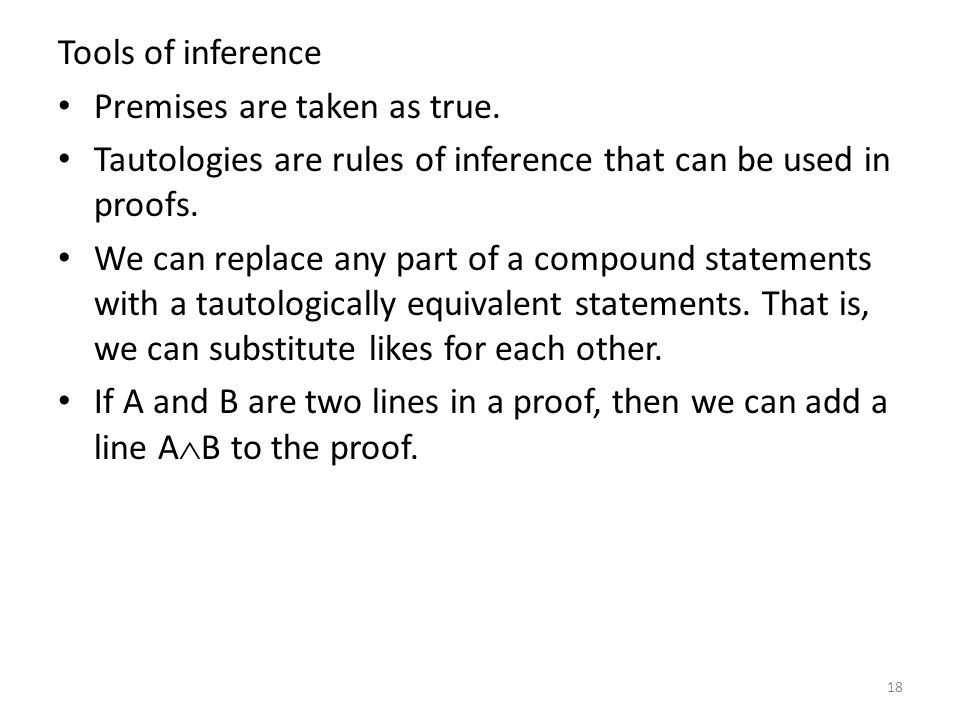 Tools of inference Premises are taken as true. Tautologies are rules of inference that can be used in proofs.