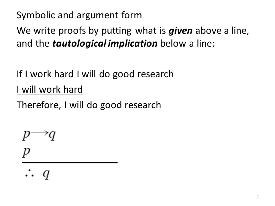 Symbolic and argument form We write proofs by putting what is given above a line, and the tautological implication below a line: If I work hard I will do good research I will work hard Therefore, I will do good research
