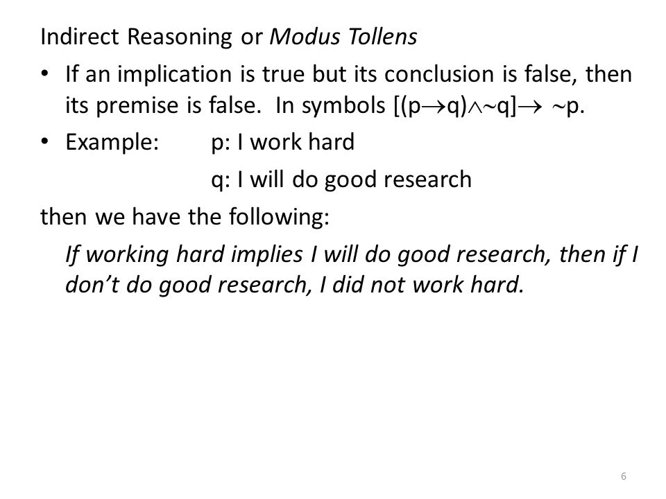 Indirect Reasoning or Modus Tollens