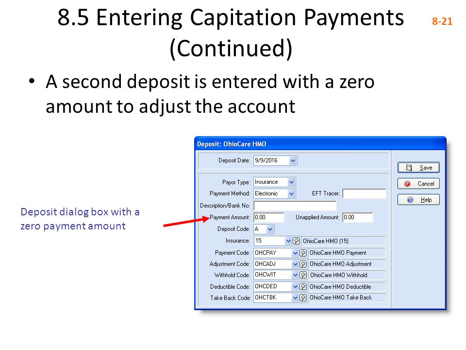 8.5 Entering Capitation Payments (Continued)