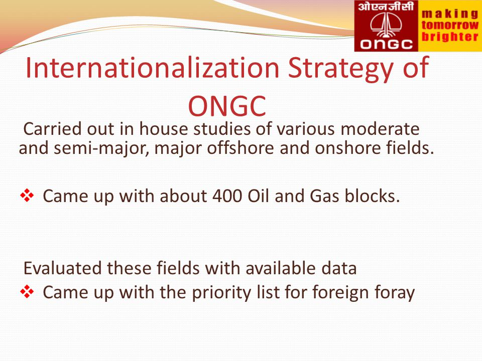 Internationalization Strategy of ONGC