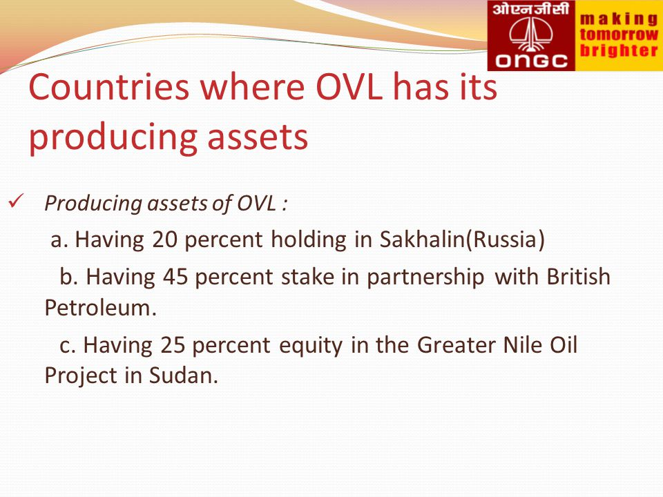 Countries where OVL has its producing assets