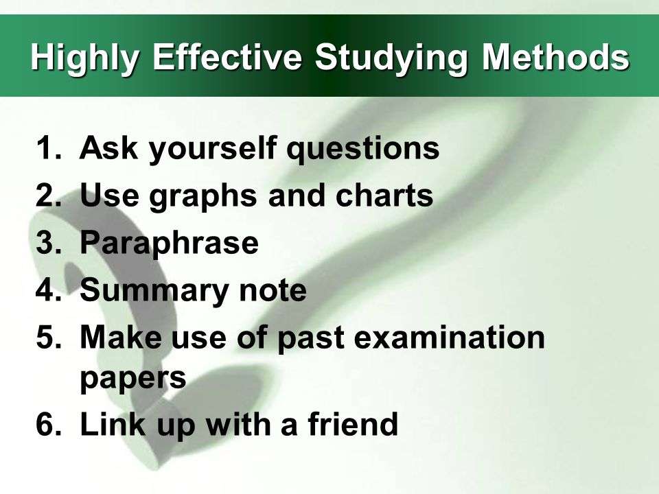 highly effective study method essay The 7 habits of highly effective people marketing research (essay  the book the 7 habits of highly effective people this assignment is only  methods.