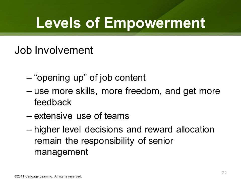 employee empowerment and direct parcipitation in management Employee empowerment has widely been recognized as an essential contributor to organizational success with many authors observing a direct relationship between the level of employee empowerment and employee performance, employee job satisfaction and employee.