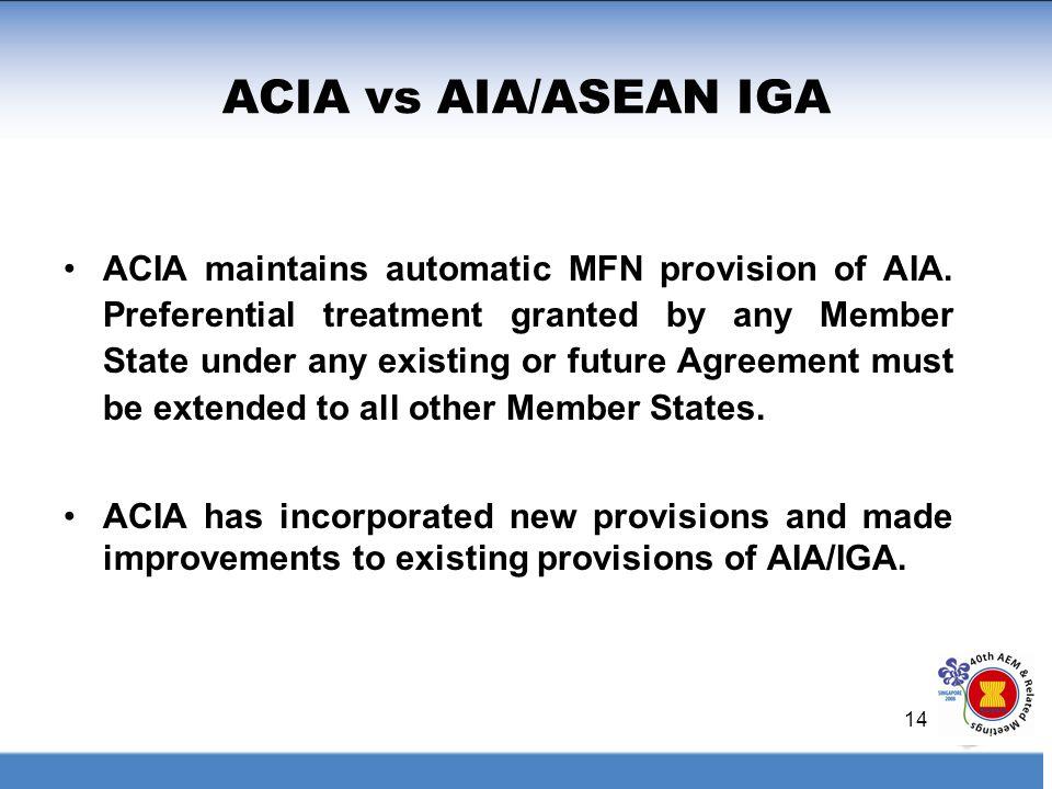 ACIA vs AIA/ASEAN IGA
