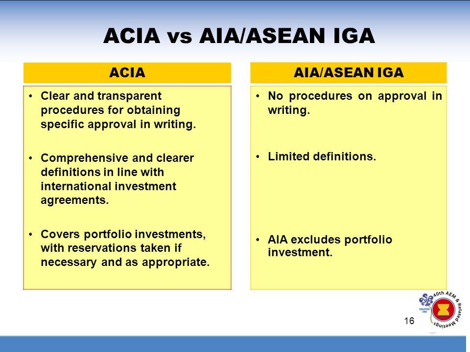 ACIA vs AIA/ASEAN IGA ACIA AIA/ASEAN IGA