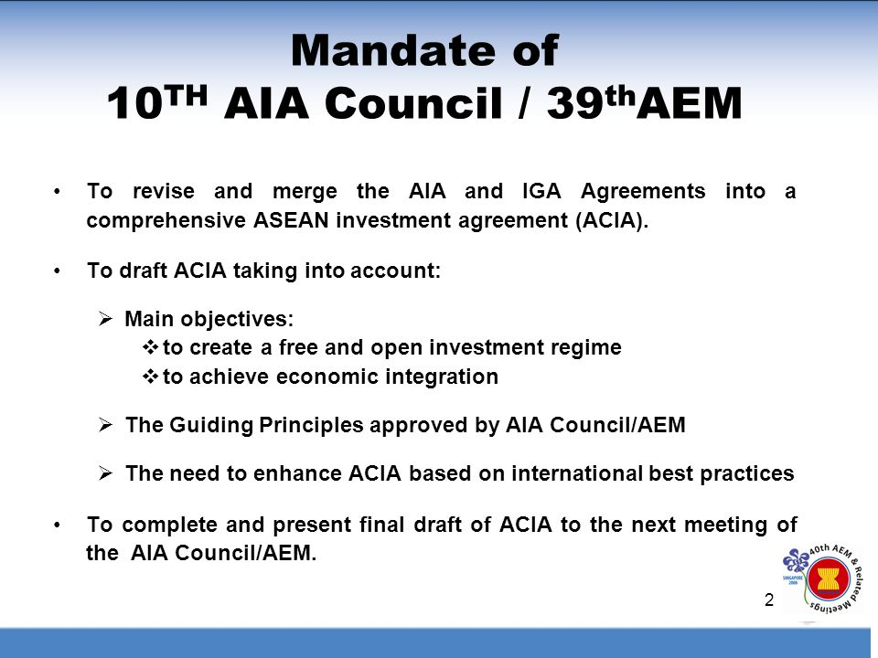 Highlights Of The Asean Comprehensive Investment Agreement (Acia