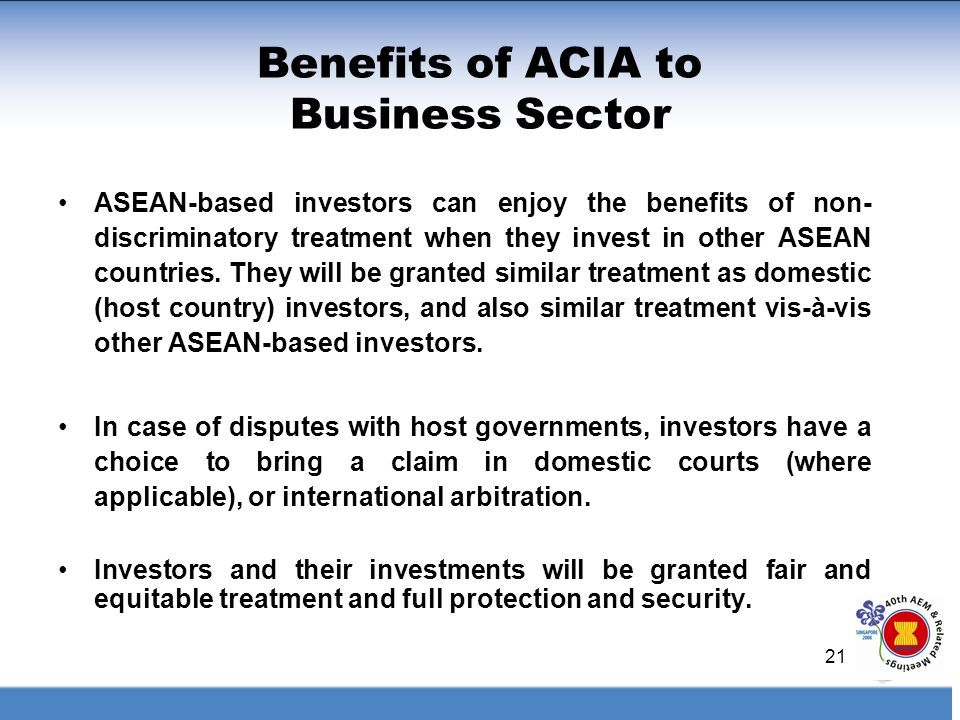 Benefits of ACIA to Business Sector