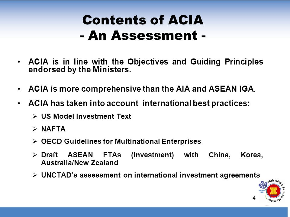 Highlights Of The Asean Comprehensive Investment Agreement Acia