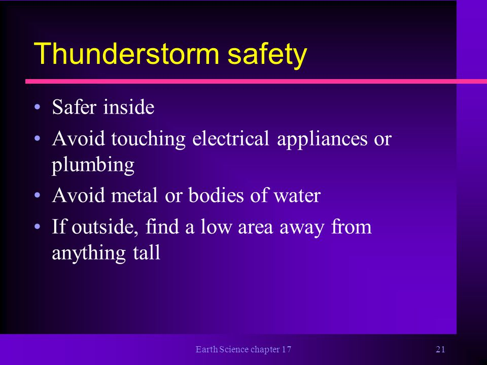 Thunderstorm safety Safer inside
