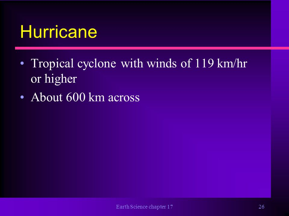 Hurricane Tropical cyclone with winds of 119 km/hr or higher