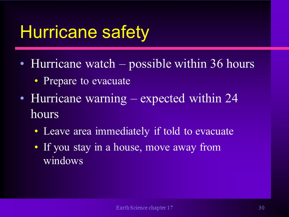 Hurricane safety Hurricane watch – possible within 36 hours