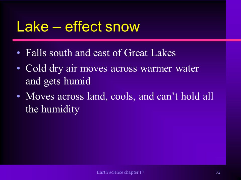 Lake – effect snow Falls south and east of Great Lakes