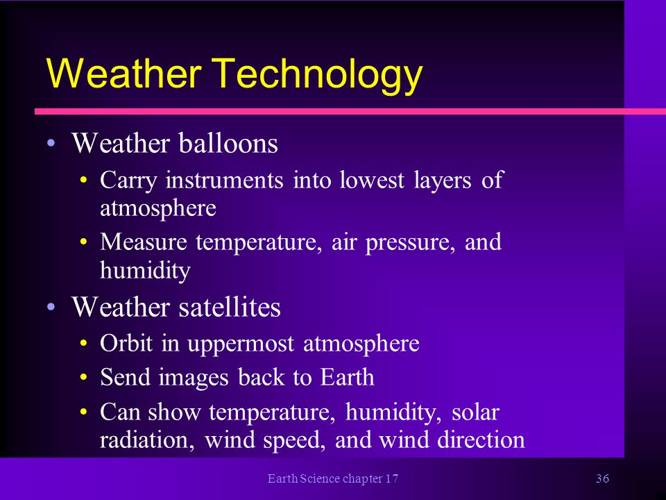 Weather Technology Weather balloons Weather satellites