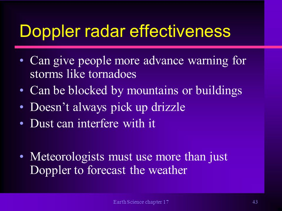 Doppler radar effectiveness