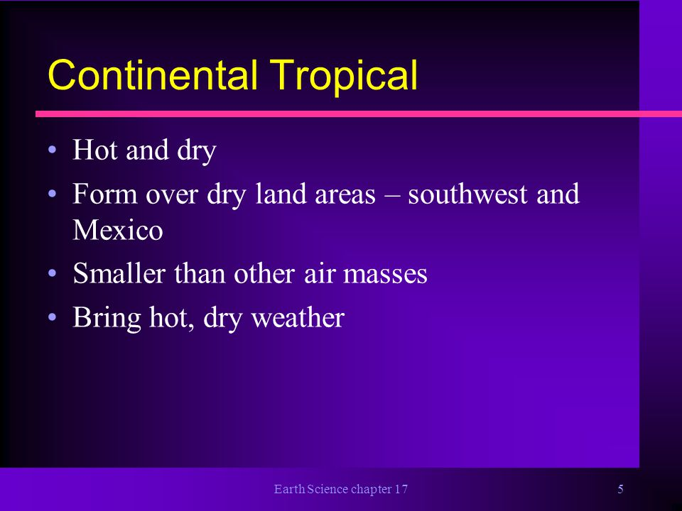 Continental Tropical Hot and dry