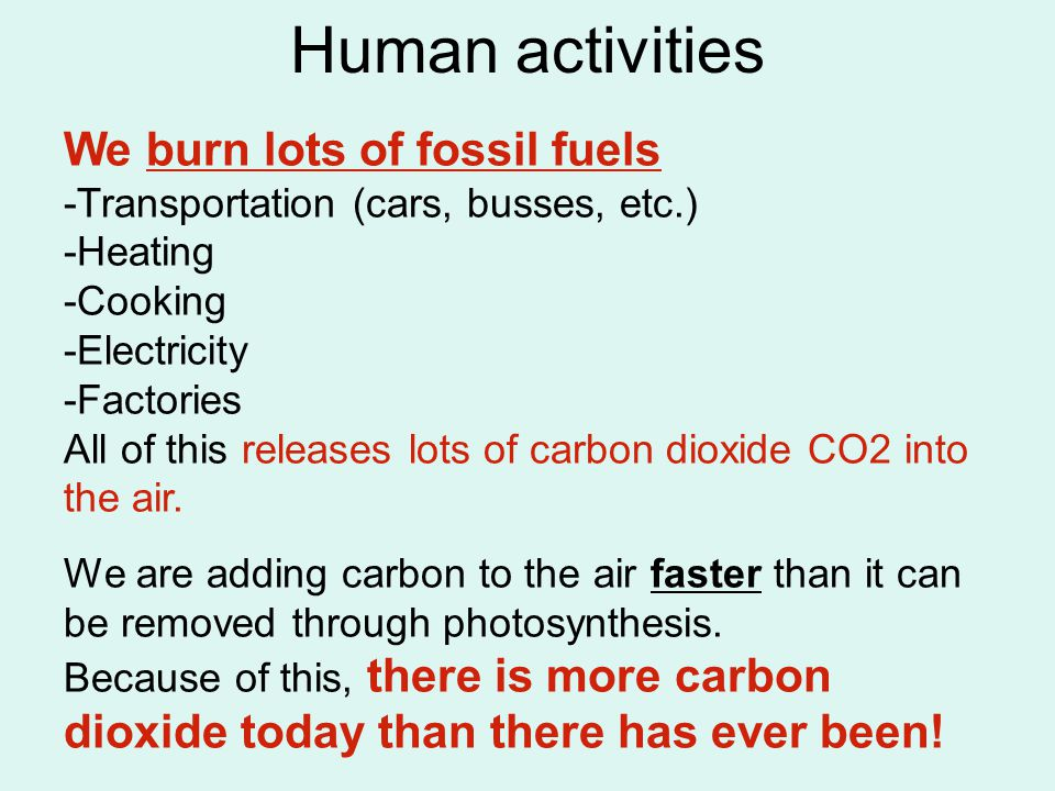 Human activities We burn lots of fossil fuels