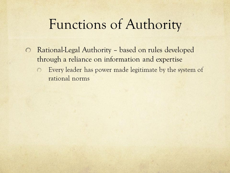 Functions of Authority