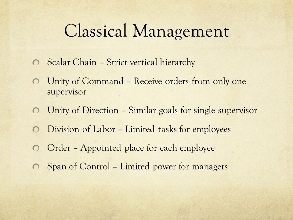 Classical Management Scalar Chain – Strict vertical hierarchy