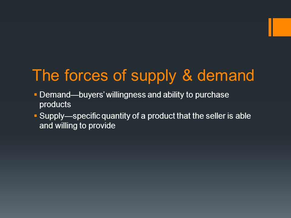 The forces of supply & demand