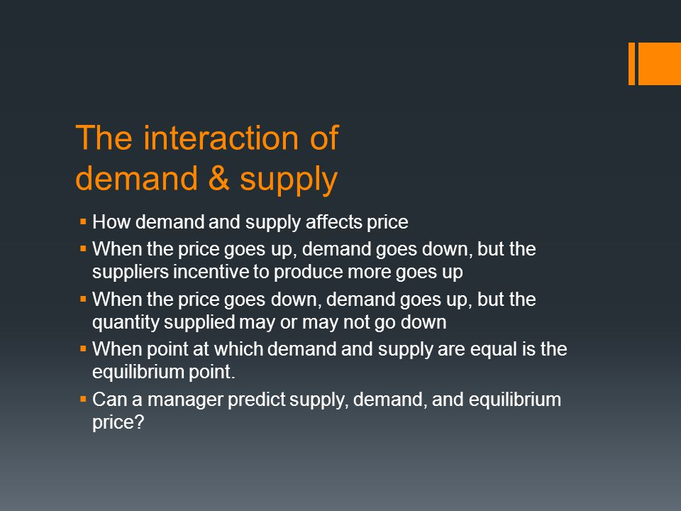 The interaction of demand & supply