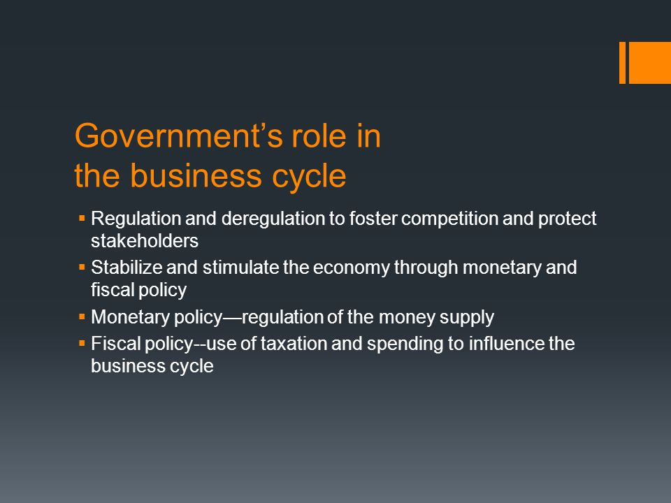 Government's role in the business cycle