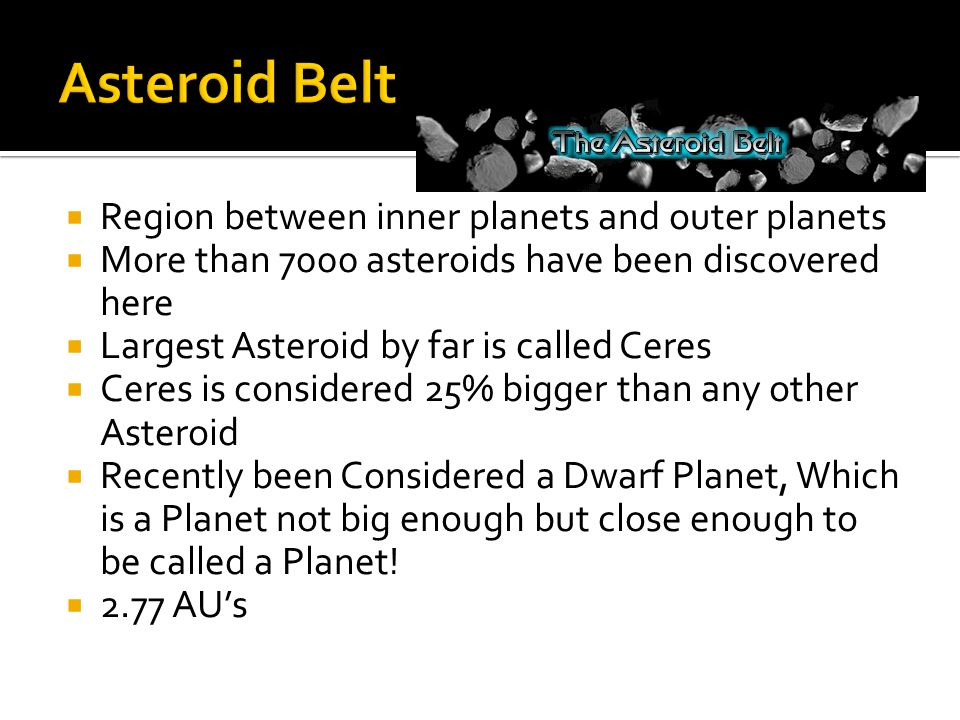 Asteroid Belt Region between inner planets and outer planets
