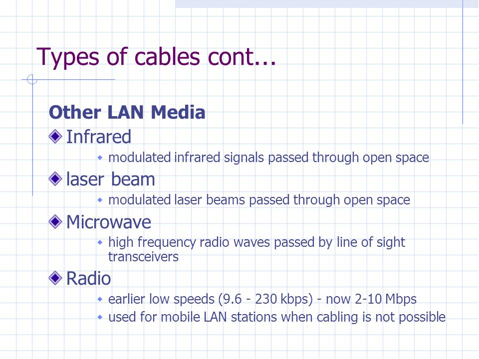 Types of cables cont… Other LAN Media Infrared laser beam Microwave