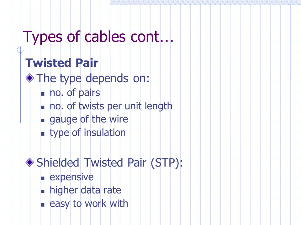 Types of cables cont… Twisted Pair The type depends on: