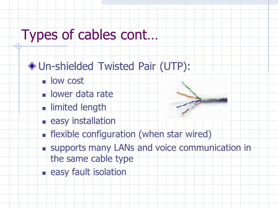 Types of cables cont… Un-shielded Twisted Pair (UTP): low cost