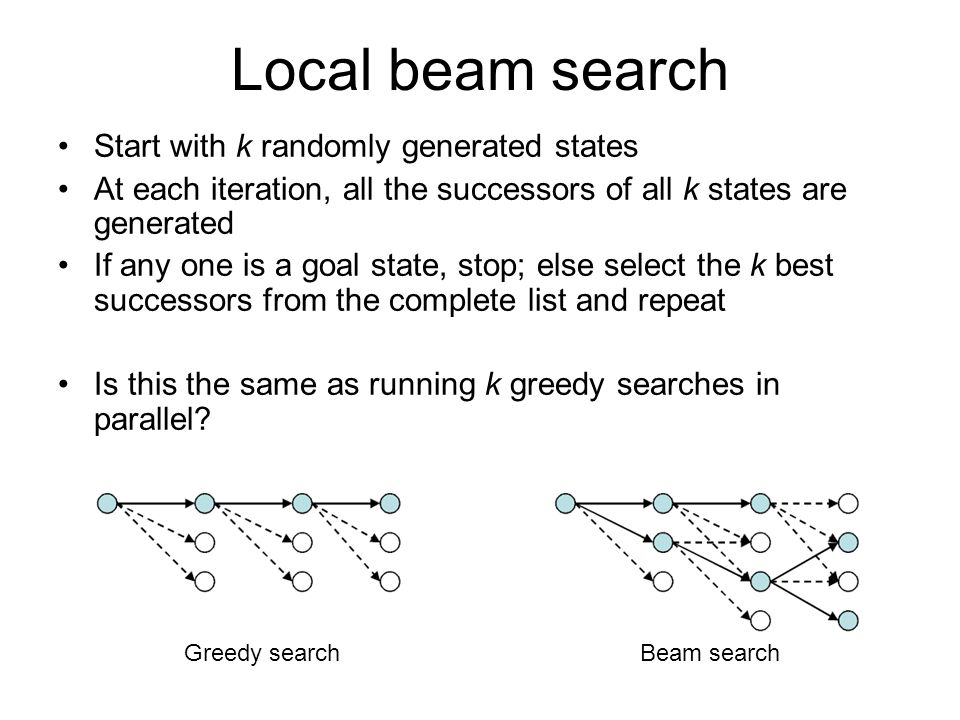 Local beam search Start with k randomly generated states