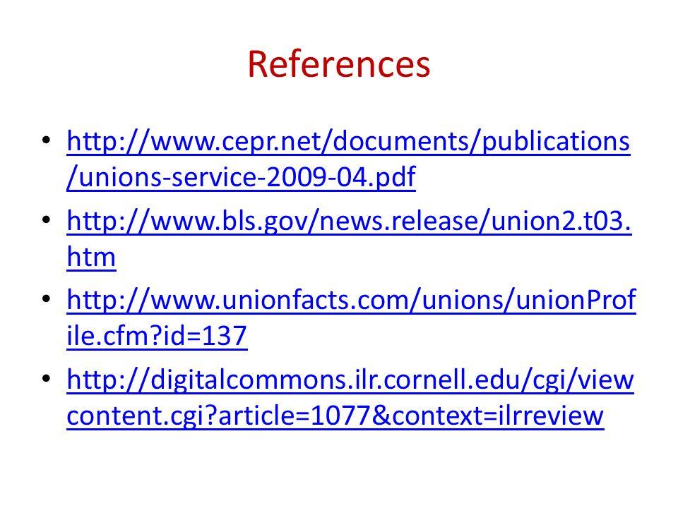 Referenceshttp://www.cepr.net/documents/publications/unions-service-2009-04.pdf. http://www.bls.gov/news.release/union2.t03.htm.