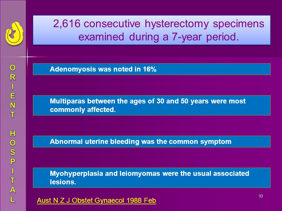 2,616 consecutive hysterectomy specimens examined during a 7-year period.