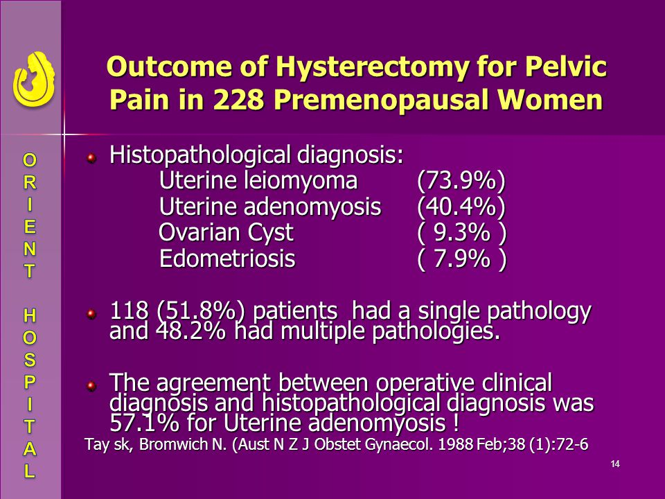 Outcome of Hysterectomy for Pelvic Pain in 228 Premenopausal Women