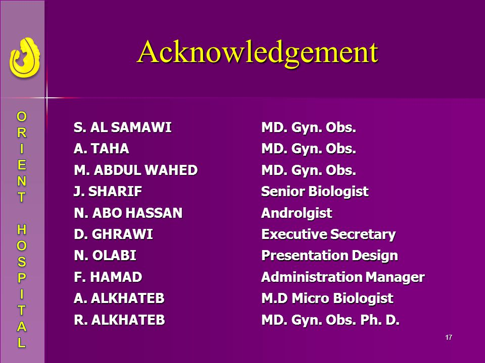 Acknowledgement S. AL SAMAWI MD. Gyn. Obs. A. TAHA M. ABDUL WAHED