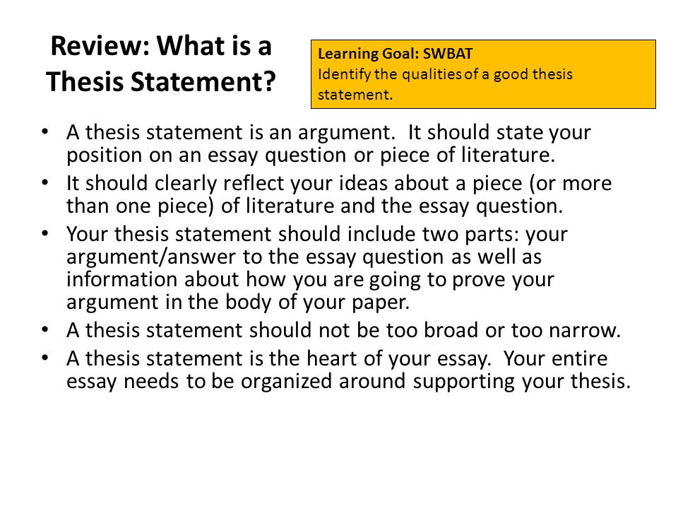 reflection thesis statement