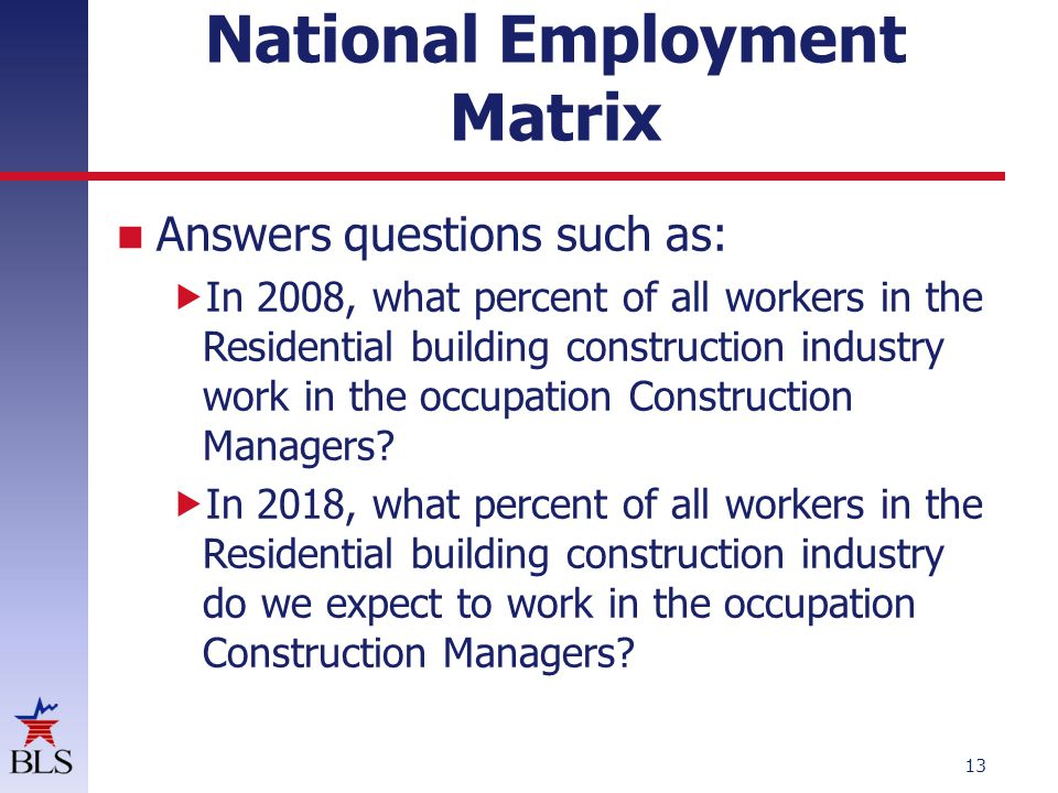 National Employment Matrix, Residential building construction