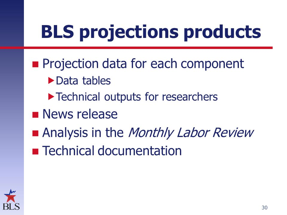 BLS projections products