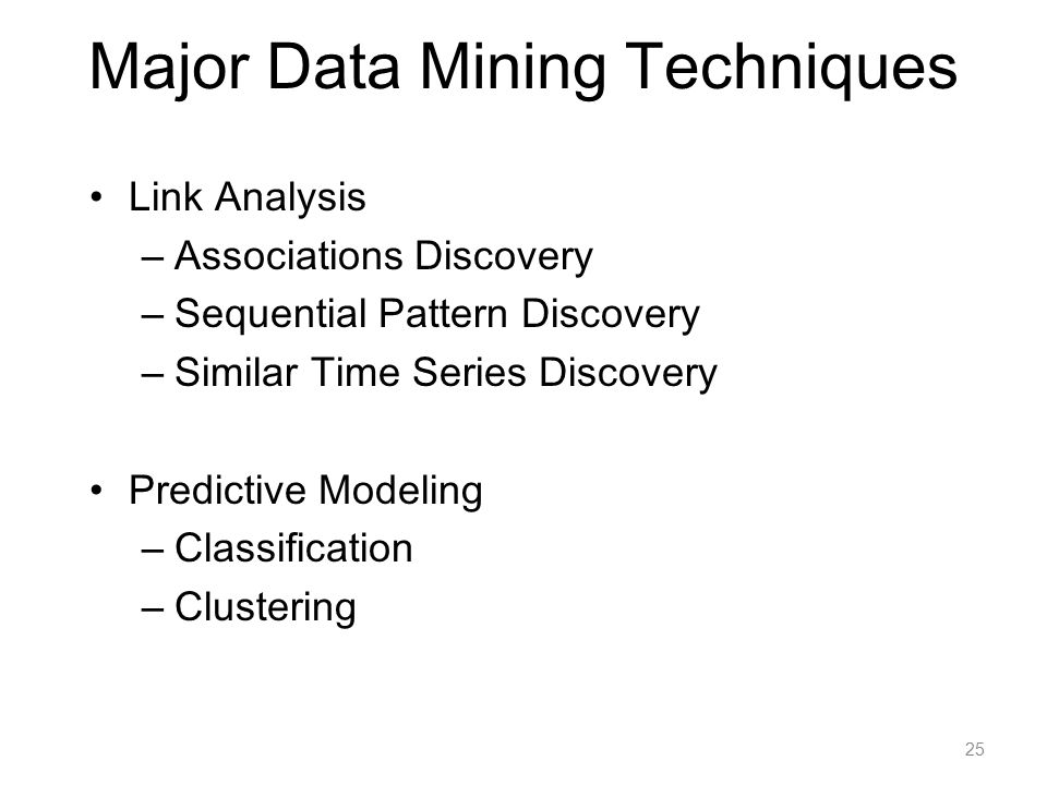 Major Data Mining Techniques