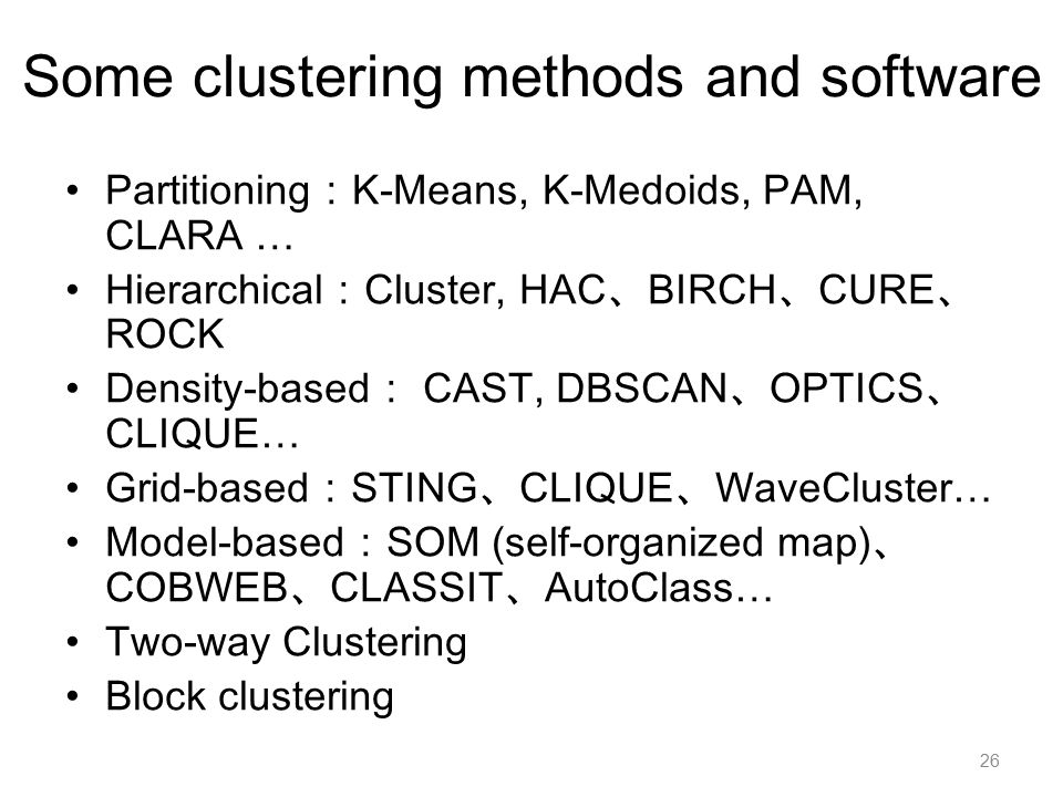 Some clustering methods and software