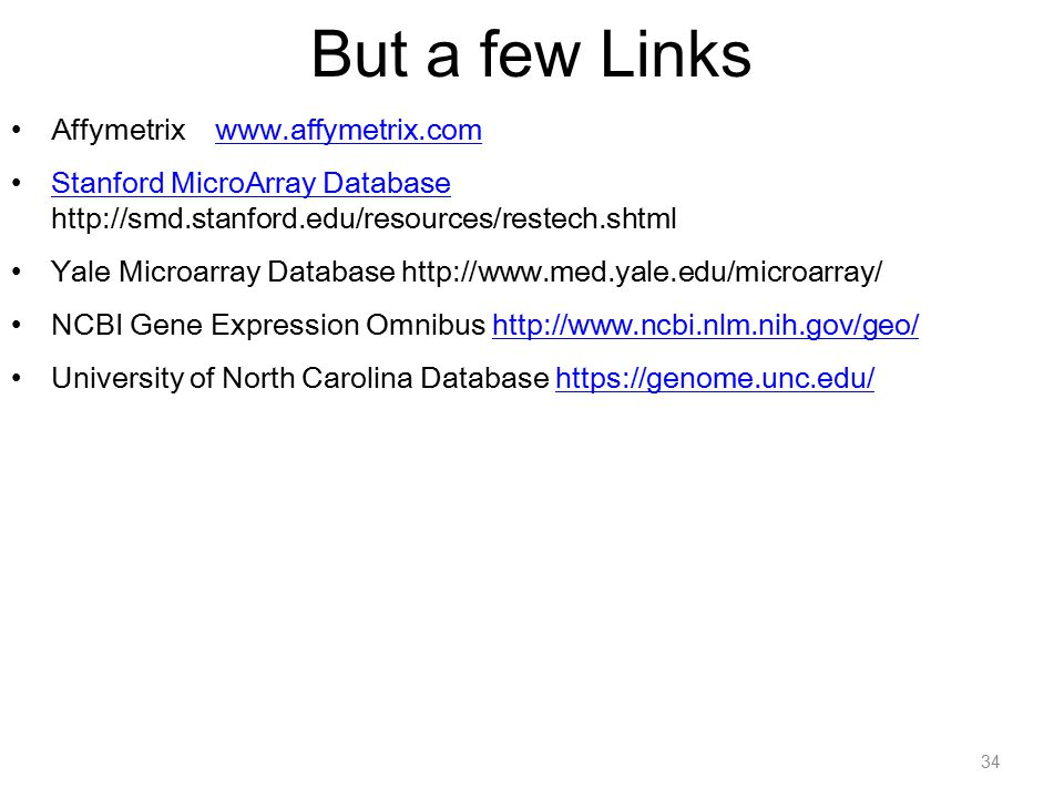 But a few Links Affymetrix