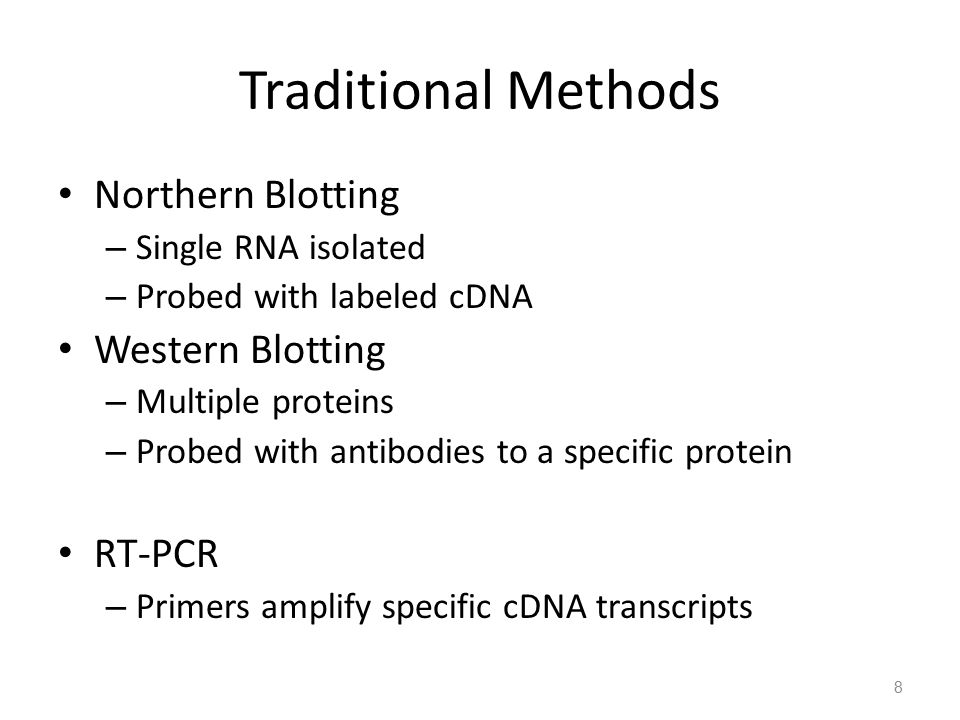 Traditional Methods Northern Blotting Western Blotting RT-PCR