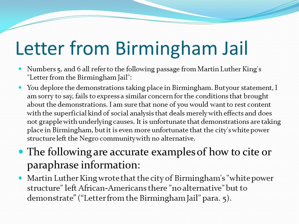 birmingham jail letter Letter from birmingham jail questions and answers the question and answer section for letter from birmingham jail is a great resource to ask questions, find answers, and discuss the novel.