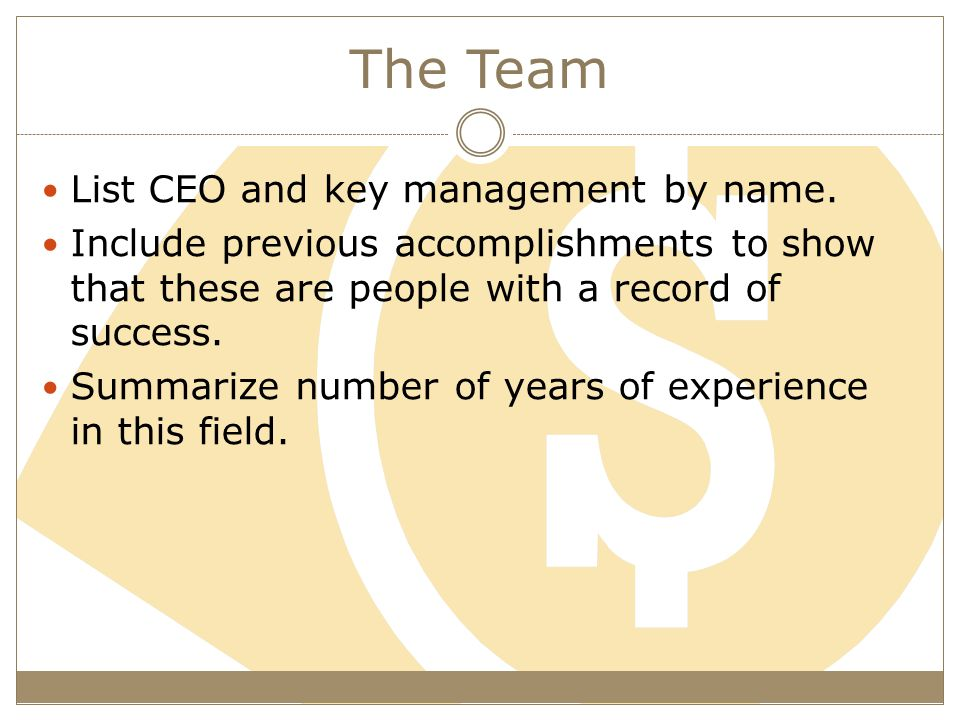 The Team List CEO and key management by name.