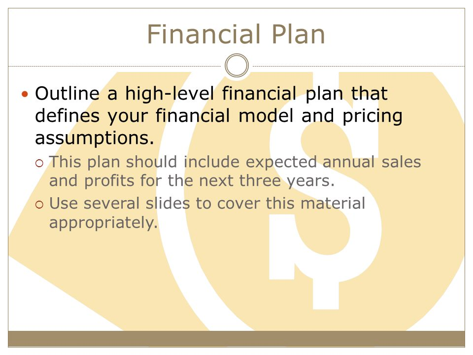Financial Plan Outline a high-level financial plan that defines your financial model and pricing assumptions.