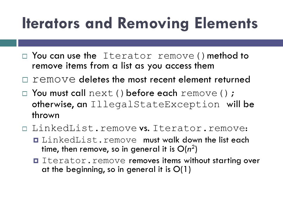 Iterators and Removing Elements